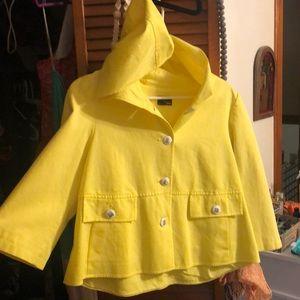 Fendi denim yellow hooded jacket